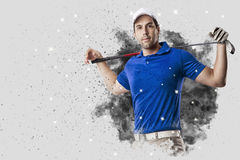 Golf Player coming out of a blast of smoke Stock Image