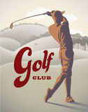 Golf player on the field. Golf player is doing a swing on the field. Retro styled vector illustration Stock Photography