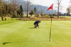 Golf player on the green Stock Images