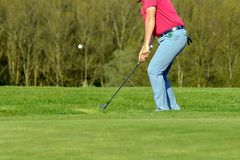 A golf player on a green. In France Stock Image