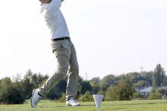 A golf player on a green. In France Royalty Free Stock Photography