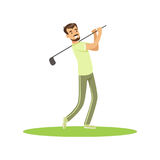 Golf player in a green uniform taking a swing vector Illustration Royalty Free Stock Photos