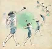 Golf Player - An hand drawn and painted illustration Stock Image