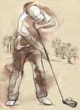 Golf Player - An hand drawn and painted illustration Stock Photo