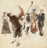 Golf Player - An hand drawn and painted illustration Royalty Free Stock Images
