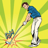 Golf player has a stick in the ball Stock Image