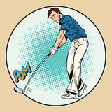 Golf player has a stick in the ball Royalty Free Stock Images