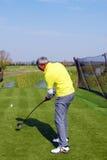 Golf player hit ball Royalty Free Stock Photo