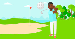 Golf player hitting the ball. Royalty Free Stock Images