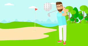 Golf player hitting the ball. Royalty Free Stock Photography