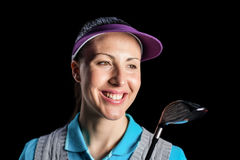 Golf player holding golf club on black background. Happy golf player holding golf club on black background Royalty Free Stock Photos