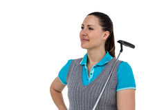 Golf player holding a golf club. On white background Stock Photos