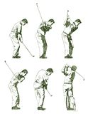 Golf player illustration shown in stages