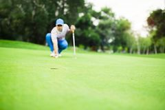 Golf player marking ball on the putting green. Before lifting the ball stock photos