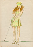 Golf player - modern woman - 2. Golfer - Full-sized (original) hand drawing (useful for live trace converting for the  image - and others). Technique: digital Royalty Free Stock Images