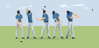 Golf player motions. vector illustration