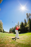 Golf player performs a swing. Male golf player performs a swing. Summer outdoor sport and wealthy class concept Royalty Free Stock Photos