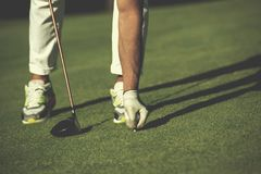 Golf player placing ball on tee Royalty Free Stock Photos