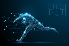 Golf player poly blue. Abstract shot putter with cybernetic particles. Polygonal digital background. Point and curve constructed the shot putter silhouette Stock Image