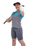 Golf player posing with golf club. Happy golf player posing with golf club on white background Stock Photos