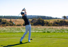 Golf player is practicing on the golf field. Cape Kidnappers golf court. New Zealand. Stock Image