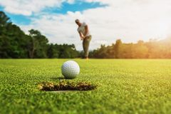Free Golf Player Putting Golf Ball Into Hole Stock Image - 154427231