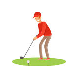 Golf player in a red pullover and cap taking a swing vector Illustration Royalty Free Stock Images