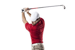 Golf Player. In a red shirt taking a swing, on a white Background stock photos