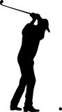 Golf player silhouette. Golf player hitting the ball silhouette Stock Photography