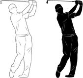 Golf player silhouette. With additional lines- vector Stock Photo