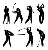Golf player silhouette. Golf player vector icon set silhouette black on white. Abstract player in gameplay Royalty Free Stock Photography