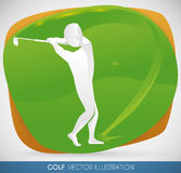 Golf Player Stroking a Nice Shot in Sport Event, Vector Illustration Stock Images