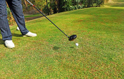 Golf player at the tee, Andalusia, Spain Royalty Free Stock Photography