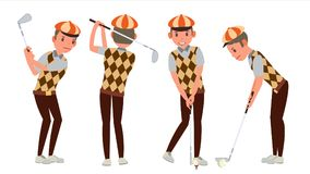 Classic Golf Player Vector. Swing Shot On Course. Diferent Poses. Flat Cartoon Illustration. Golf Player Vector. Playing Golfer Male. Different Poses. Isolated Stock Photos
