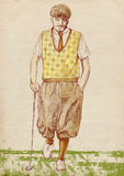 Golf player - vintage man. Golfer - Full-sized (original) hand drawing (useful for live trace converting for the  image - and others). Technique: digital tablet Stock Image