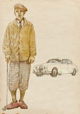 Golf player - vintage man (with car). Golfer - Full-sized (original) hand drawing (useful for live trace converting for the  image - and others). Technique Royalty Free Stock Images