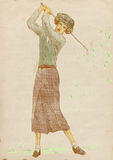 Golf player - vintage woman. Golfer - Full-sized (original) hand drawing (useful for live trace converting for the  image - and others). Technique: digital Royalty Free Stock Images