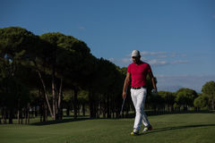Golf player walking and carrying driver stock photos