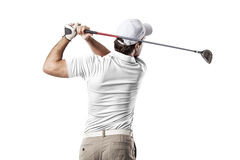Golf Player. In a white shirt taking a swing, on a white Background Stock Photo