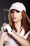 Golf Player Woman. Stock Photo