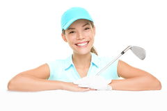 Golf player - woman showing sign. Golf player woman sign. Female golf player showing empty blank white paper billboard. Mixed race Asian Caucasian woman isolated Royalty Free Stock Photos