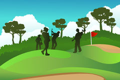 Golf players. A  illustration of a few golf players on a golf course Stock Image