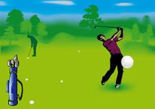 Golf players. This image is a vector illustration and can be scaled to any size without loss of resolution. This image will download as an EPS file. You will Royalty Free Stock Photo