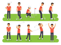 Golf players, golf sport athletes in actions Royalty Free Stock Photos