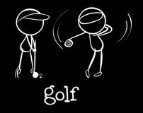 Golf players. Illustration of the golf players on a black background Stock Photos