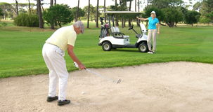 Golf players playing together. At golf course stock footage