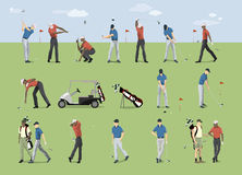 Golf players set. Golf players set on the green meadow. People in uniform with sport equipment Stock Photos