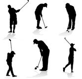 Golf players silhouette. Collection of golfer silhouette,  illustration Royalty Free Stock Photos