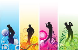 Golf players silhouettes Royalty Free Stock Images