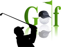 Golf players silhouettes Stock Image